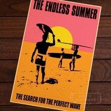 Verano sin fin para mar ola perfecta deportes de surf viajes Retro Vintage cartel para pared decorativa lienzo pegatinas Posters Bar Home Dec