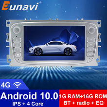 Eunavi 2 Din Android 10 Car Multimedia Player Auto Radio GPS for Ford focus 2 Mondeo S-MAX C-MAX Galaxy Transit Tourneo gps BT автомобильный dvd плеер isudar 2 din 7 dvd ford mondeo s max focus 2 2008 2011 3g gps bt tv 1080p ipod