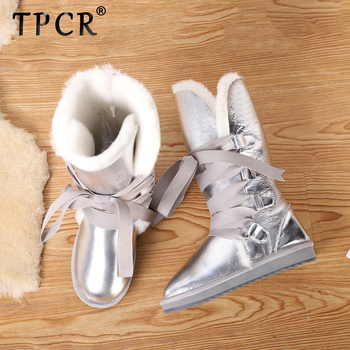 TPCR sheepskin leather natural sheep wool fur lined girls winter shoes waterproof snow boots for women Knee-high boots silver top fashion 2018 real wool botas mujer high quality genuine sheepskin leather snow boots natural fur waterproof women shoes