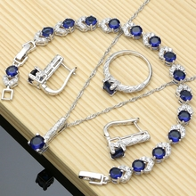 цены Exquisite Blue CZ White Crystal 925 Sterling Silver Jewelry Sets For Women Party Earrings And Ring Sets