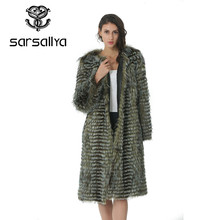 Autumn Winter Luxury X-Long Style Real Silver Fox Fur Coat Natural Color Fur Collar Stripped Syle Outerwear(China)