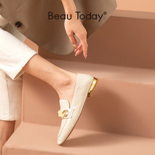 Flats Beautoday-Loafers Square-Toe Soft Women Genuine Sheepskin with Metal Chain-Decoration