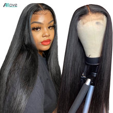 Allove 4x4 Lace Closure Wig Straight Human Hair Wigs For Black Women 150% Brazilian Lace Front Human Hair Wigs Pre Plucked