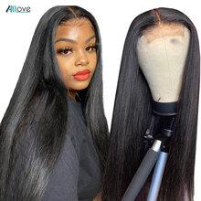 Allove 4x4 레이스 클로저 가발 흑인 여성을위한 스트레이트 인간의 머리 가발 150% 브라질 레이스 프론트 인간의 머리 가발 Pre Plucked