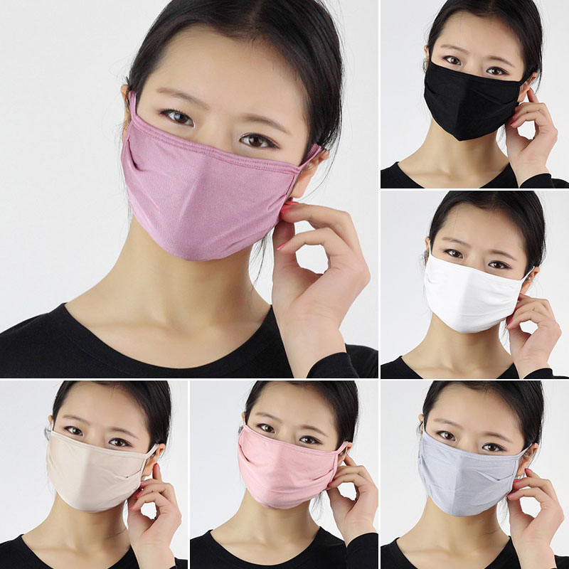 Unisex Sunscreen Silk Masks Windproof Mouth Face Masks Solid Color Repeatable Covers Mouth Mask White Washable Reusable Mask