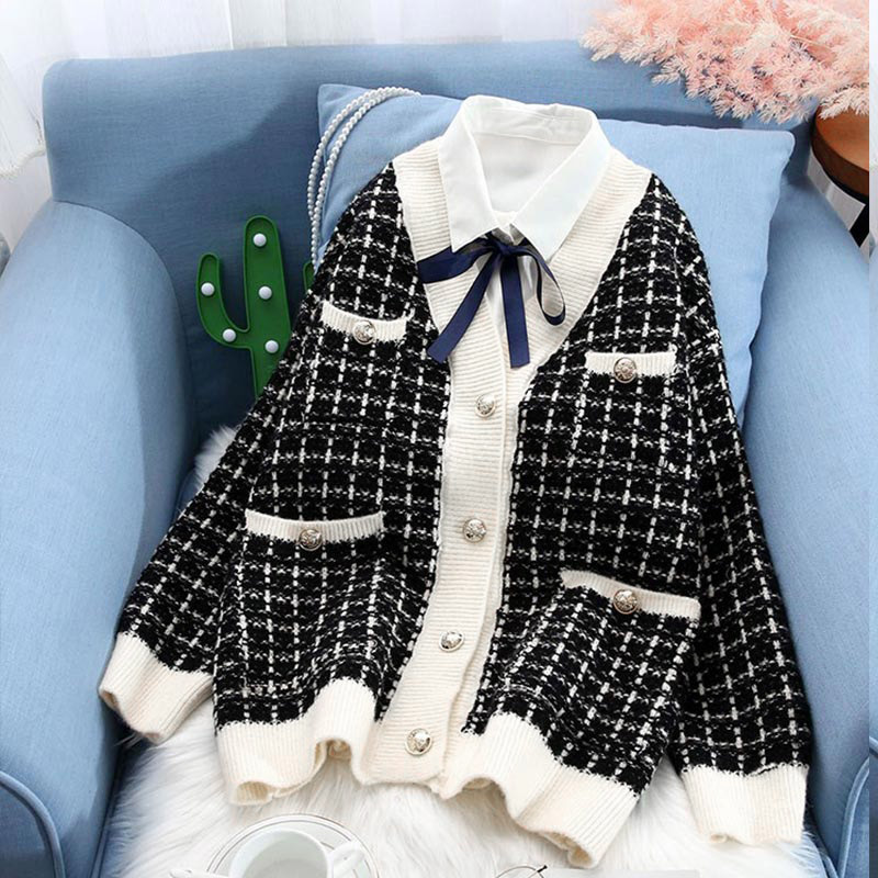 Women Cardigans Knitted Plaid Contrast Sweater V Neck Single Breasted Pockets Female Sweaters 2020 Autumn Casual Ladies Coats
