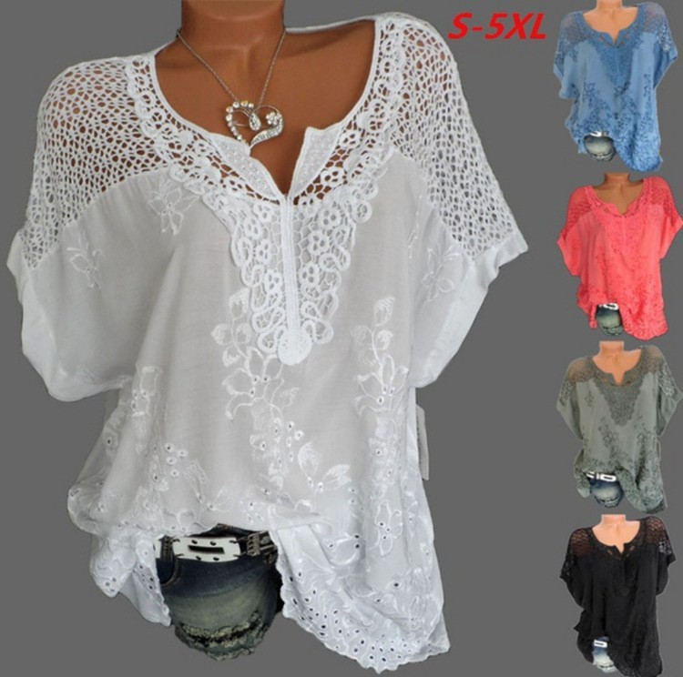 Large Size Loose Short Sleeved Lace Women Blouses Cotton Blouses 2021 Summer Shirt Tops Sexy Fashion Women Shirt