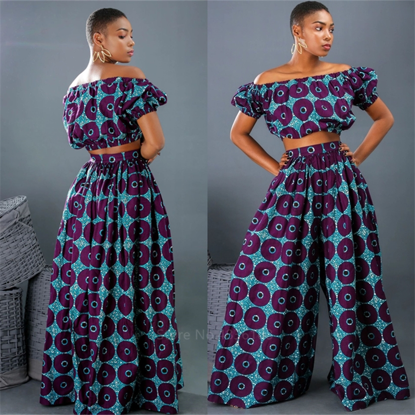 Hot Sale 2020 African Dresses for Women Shoulder Top Pant Suit Wide Leg Trousers Ankara Robe Africaine Sexy Ladies Dashiki Print