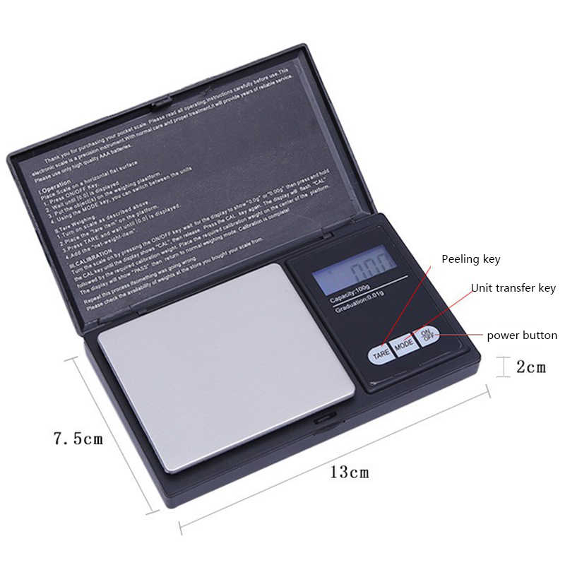 Precision LCD Digital Timbangan Bubuk Gandum Perhiasan Skala 3 Mode Berat 0.01G 0.1G Mini Timbangan Elektronik 100- 1000G Alat Panas