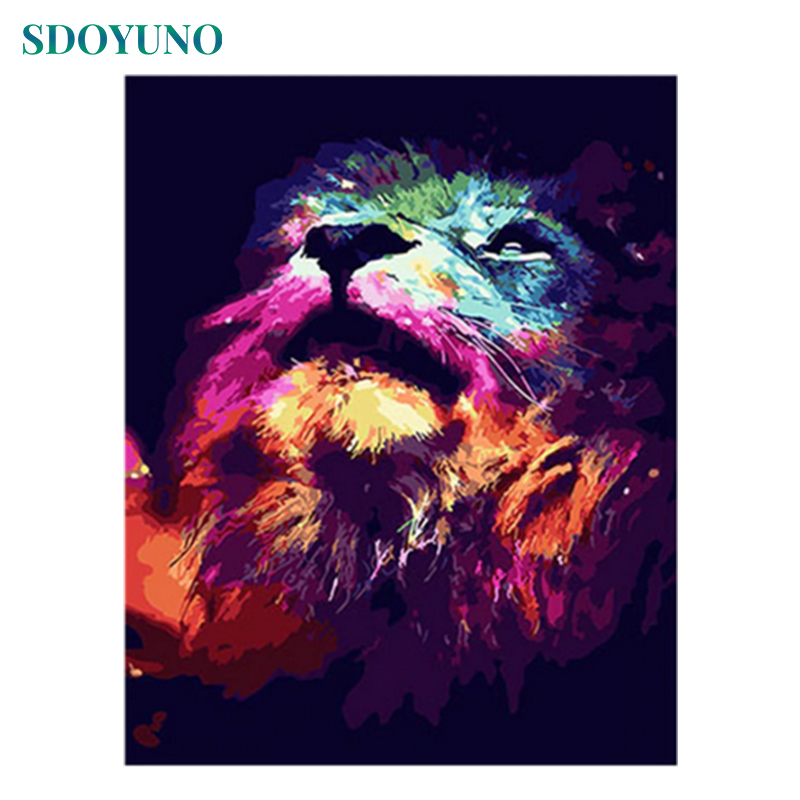 SDOYUNO 60x75cm Painting By Numbers Wall Art  Digital Canvas Painting Lion Animals DIY Pictures For Living Room Home Decor