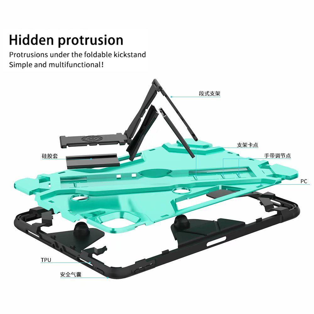 Shockproof Armor TPU PC Portable Hand Strap Stand Tablet Cover For Apple iPad Pro 11 inch