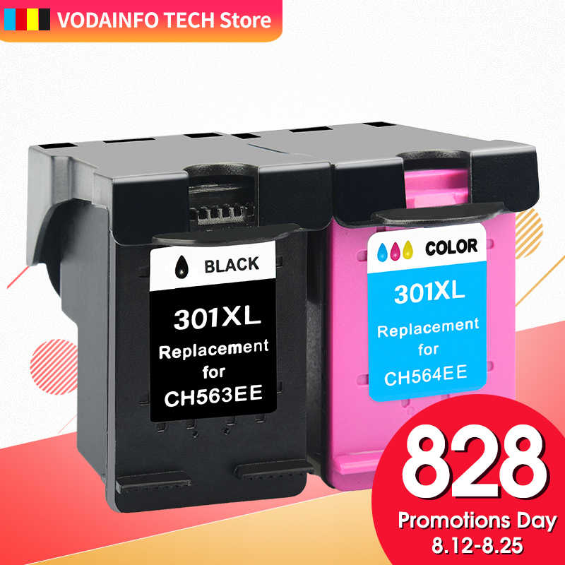 Qsyrainbow 1 Pack Ink Cartridge Kompatibel untuk HP 301 301XL Tinta Deskjet 1050 2050 3050 2150 1510 2540 Printer Penuh tinta