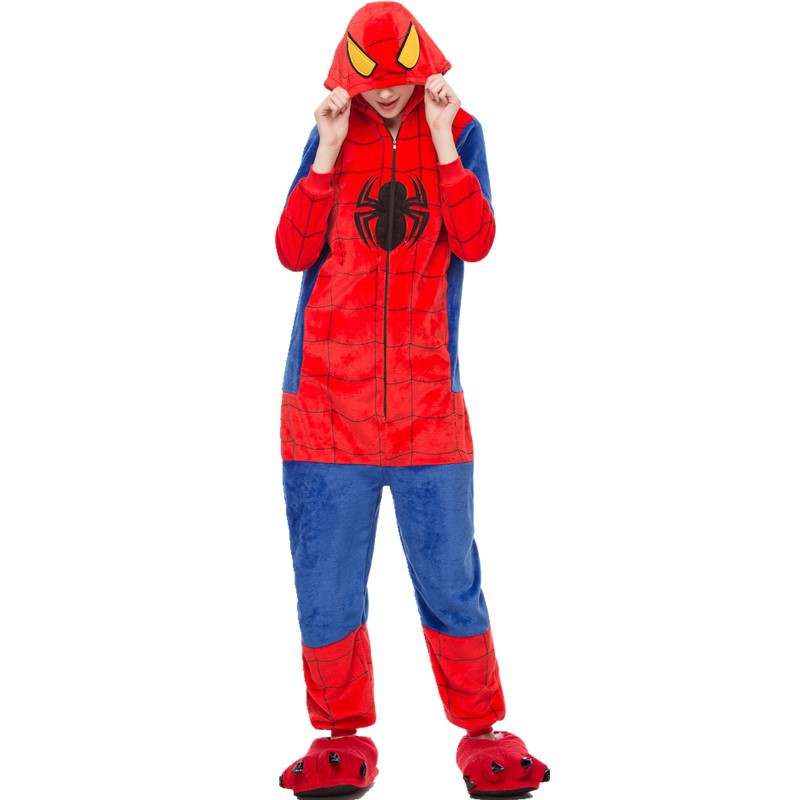 Adult Kigurumis Onesies Homewear Cartoon SpiderMan  Pajame Women Nightie Sleepwear Onesie Jumpsuit For Sleep Bodysuit Clothing