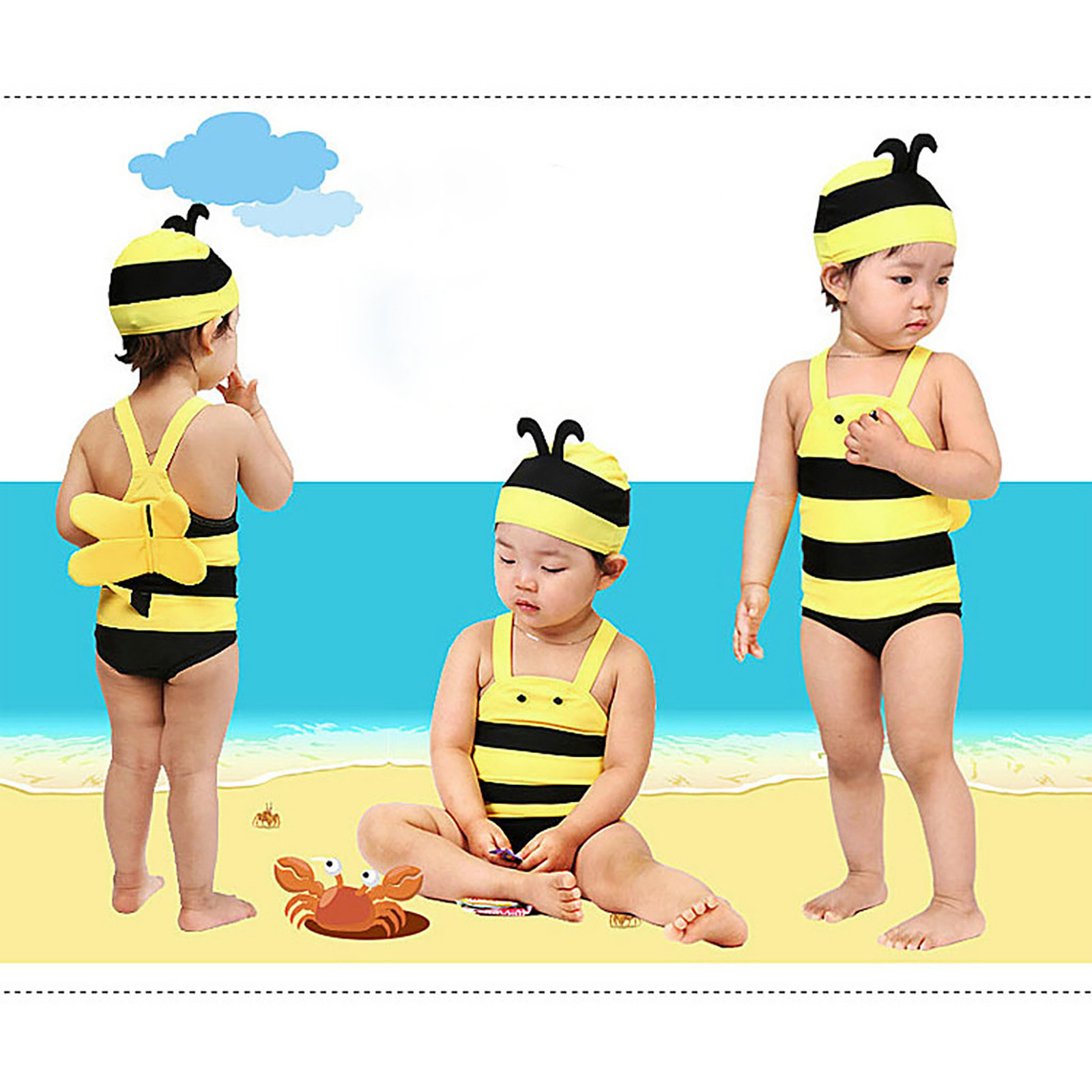 girls swimwear Toddler kids Baby Boy Girl Sleeveless Cartoon Beach  Swimwear Straps Set Outfits купальник детский детский купалн