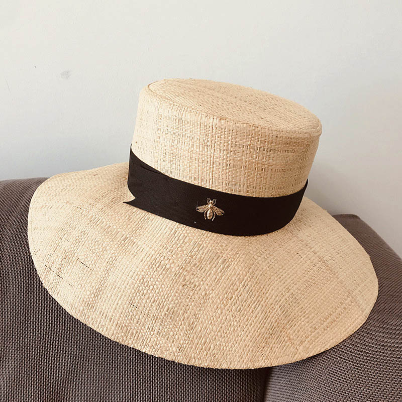 2020 Classical Raffia Summer Hat for Woman Wide Brim Flat Top Bucket Sun Hat Lady Dress Church Fedoras Beach Kentucky Derby Hat image
