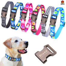 Coleiras ajustáveis para cães médios grandes gravados etiqueta personalizada do animal de estimação do filhote de cachorro