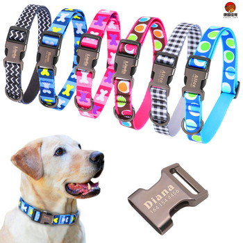 COZY JOY Dog Collar Personalized Nylon Pet Tag  Custom Puppy  Nameplate ID Collars Adjustable For Medium Large Dogs Engraved custom dog collar personalzied nylon pet dog id tag collars engraved printed puppy collar leash for small medium large dogs