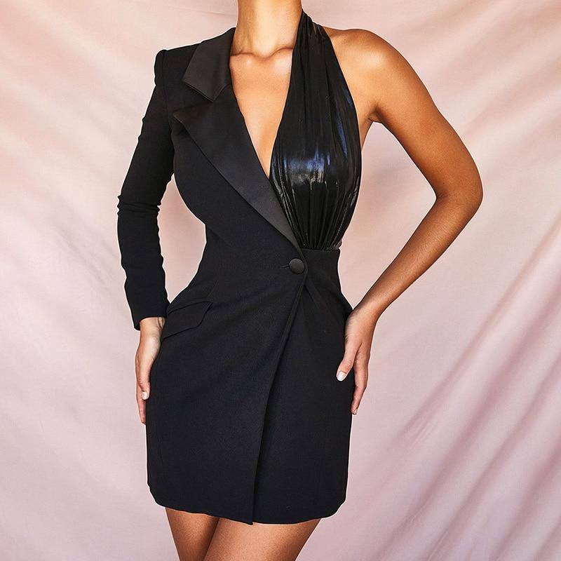 Sexy Blazer Vest JacketSingle Shoulder Sleeve Office Lady Casual Solid Color Concise Suit