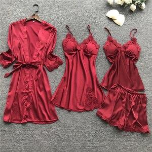 Image 3 - ซาตินเซ็กซี่ลูกไม้ชุดนอน 4 ชิ้นชุดชุดนอนผ้าไหมชุดนอนสปาเก็ตตี้สตรี Pijama ชุดนอนทรวงอก