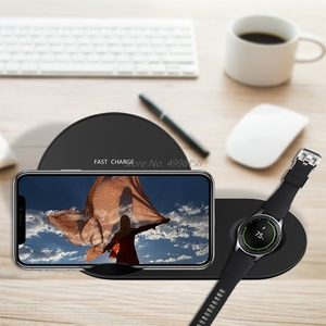 Image 3 - 2in1 QI Wireless Charger Stand for iPhone X XR XS MAX 8 for Samsung S9 S8 S7 Note 9 8 Galaxy Watch Gear S3 S2 For Huawei Mate RS