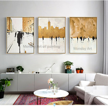 Home decor Hand painted modern Golden Oil paintings Wall Art canvas wall pictures for living room decorative