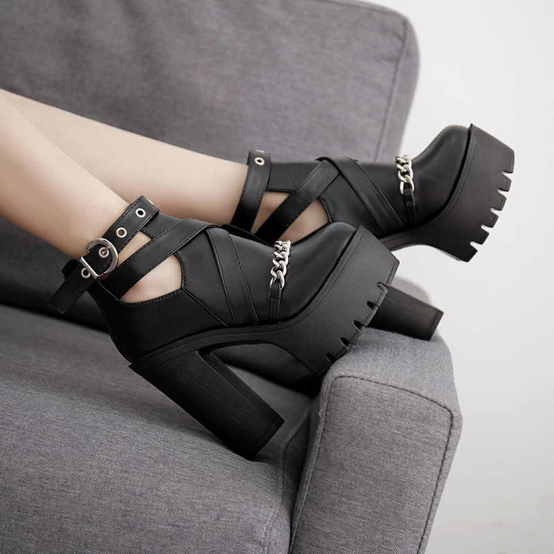 Ilkbahar sonbahar moda yarım çizmeler kadınlar için yüksek topuklu rahat kesimler toka yuvarlak ayak zinciri kalın topuklu platform ayakkabılar 345