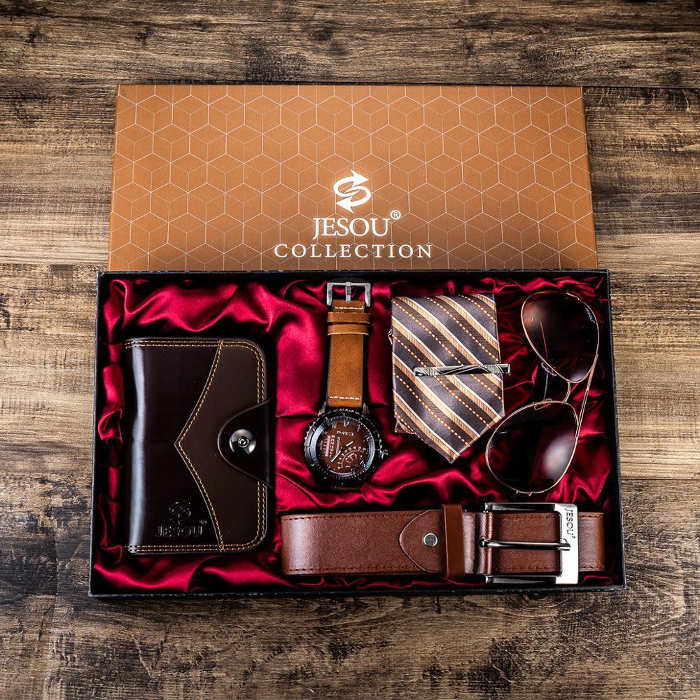 Fashion Personality Men Quartz Watch Leather Bag Sunglasses Tie Creative 6pes / Set Gift Box Holiday Gift Regalos Parahombre