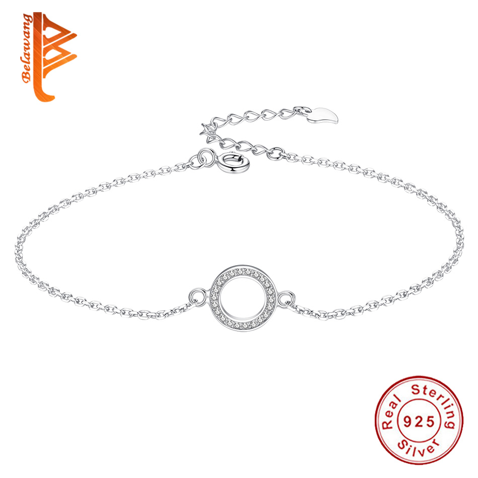 BELAWANG Genuine 925 Sterling Silver Bracelet For Women Cubic Zirconia Round Circle Charm Bracelets Chain Link Silver Jewelry