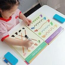 Montessori çocuk oyuncakları çizim tableti DIY renk şekli matematik maç oyun kitabı çizim seti öğrenme çocuklar için eğitici oyuncaklar