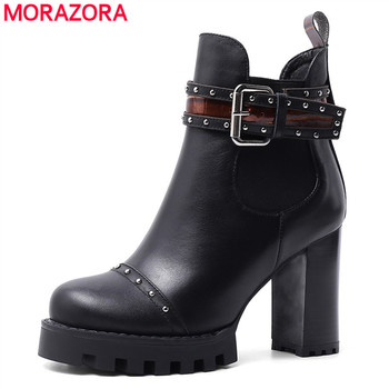 MORAZORA 2020 plus size 34-42 fashion ankle boots thick high heels round toe women boots genuine leather winter shoes woman