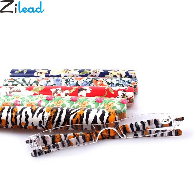 Zilead Portable Pen Tube Reading Frameless Clear Lens Women&Men Presbyopia Eyeglasses+1.0+1.25+1.5+1.75+2.0...+4.0 With Case