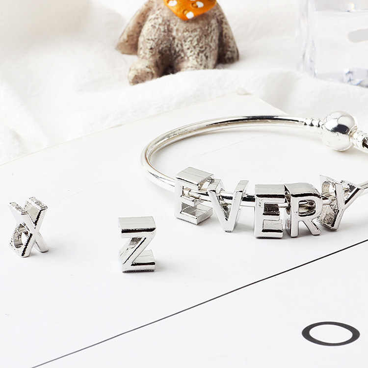 New Arrived Alloy Silver Color Small 26 Letters Charms Beads Fit Original Pandora Bracelets & Bangles for Women Party DIY Gifts