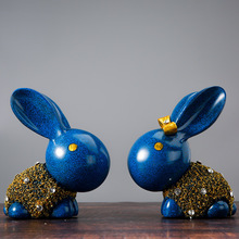 Creative Figurines rabbit home decor accessories animal crafts home decoration Europe couple big ear rabbit piggy bank ornaments