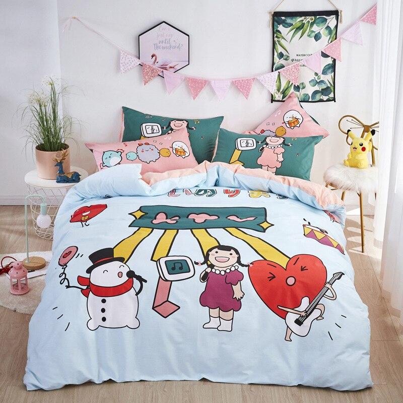 Snowman Child Singing Group Bedding Set 100% Cotton Baby Children Duvet Cover Bedlinen Comforter Cover Pillowcase Twin Queen
