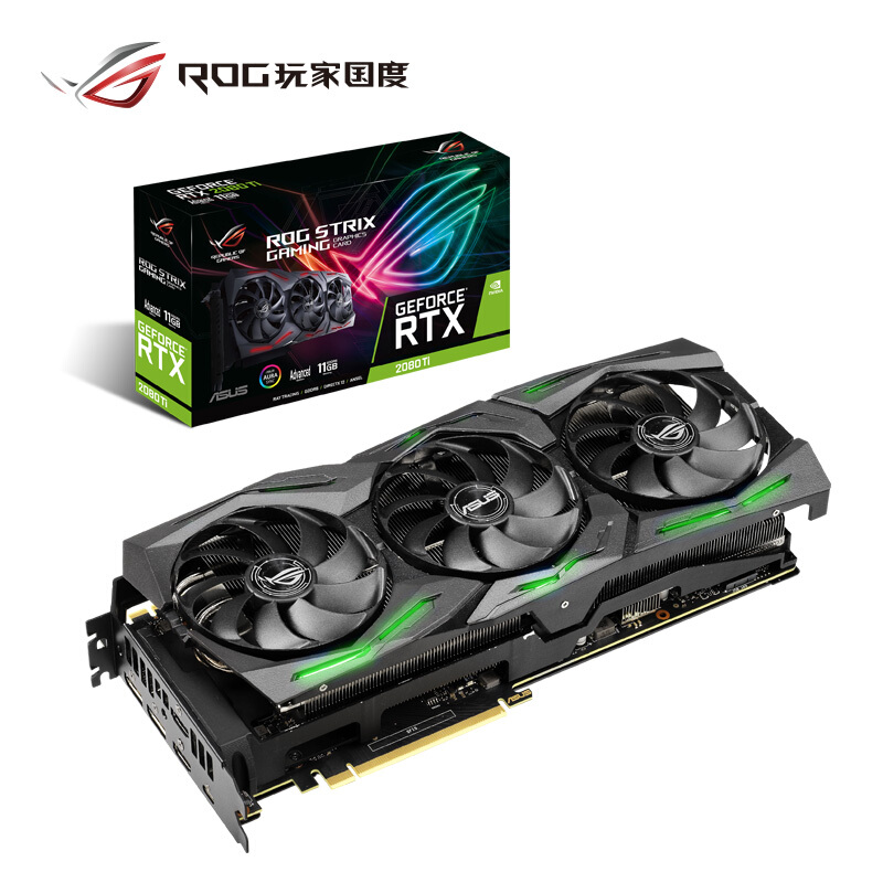 ASUS ROG STRIX-<font><b>RTX</b></font> <font><b>2080Ti</b></font>-A11G-GAMING Turing Architecture Desktop Game Graphics Card GDDR6 Support 4 screen output image