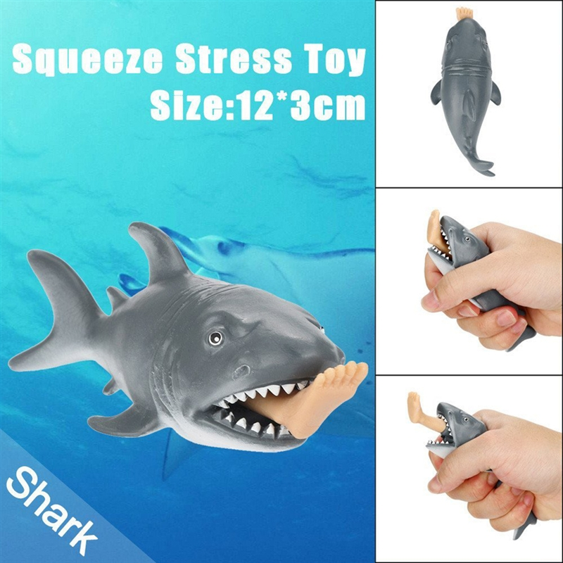 Gray Cannibal Shark Squeeze Toy Durable Soft Comfortable Shark Squeeze Toy Creative Gifts Decompression Toys