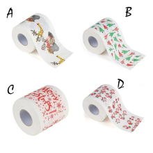 Christmas Pattern Printing Roll Toilet Paper Household Tissue Bathroom Web