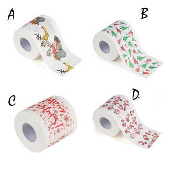 Christmas Pattern Printing Roll Toilet Paper Household Tissue Bathroom Web - DISCOUNT ITEM  29% OFF Beauty & Health