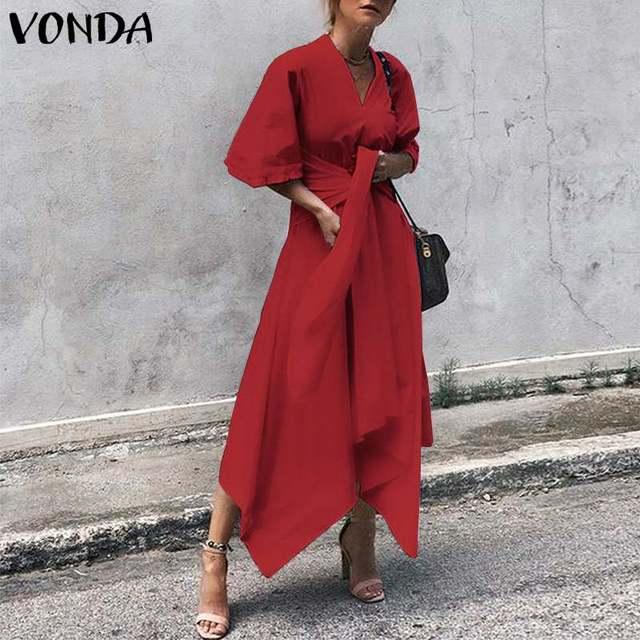 VONDA Fashion 2021 Summer Dress Vintage Long Maxi Dress Women Short Sleeve Sexy V Neck Asymmetrical High Waist Party Vestidos 3