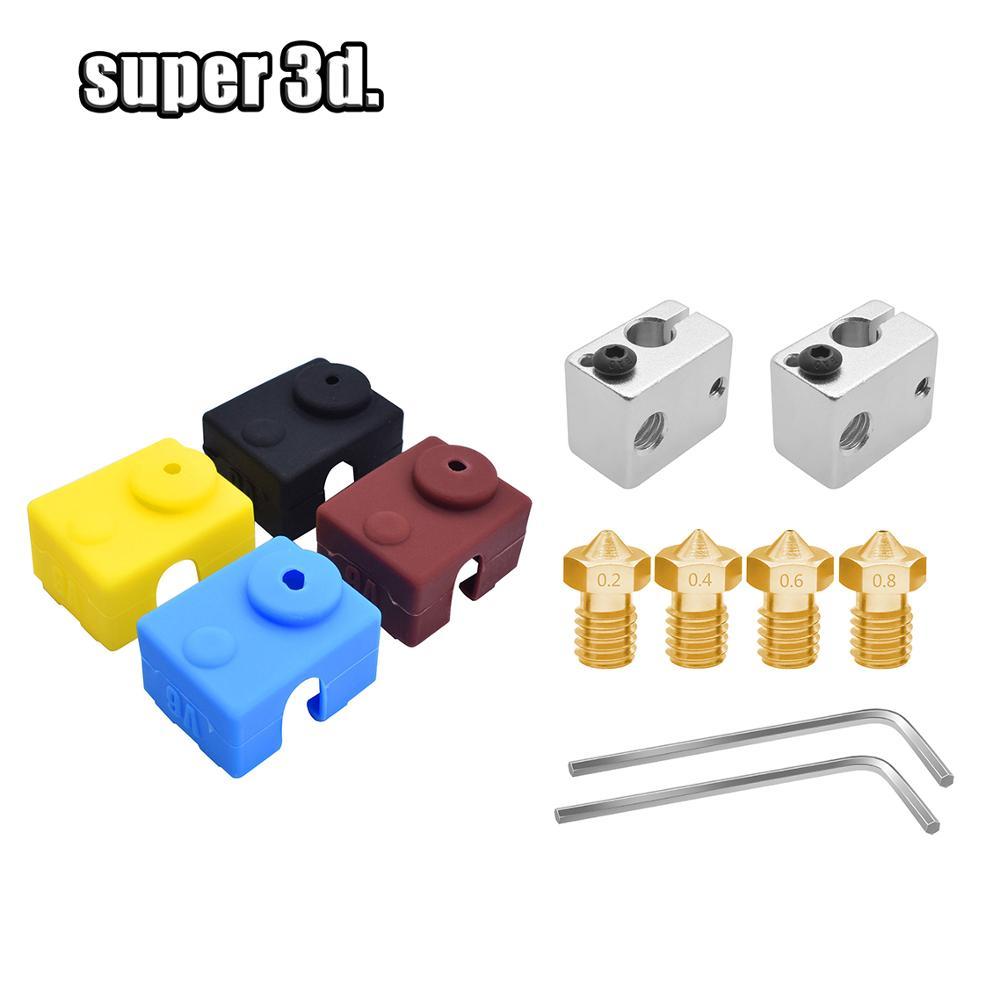 Купить 1 комплект e3d v6/mk7 175 мм сопло + термоблок mk8 mk7 силиконовые