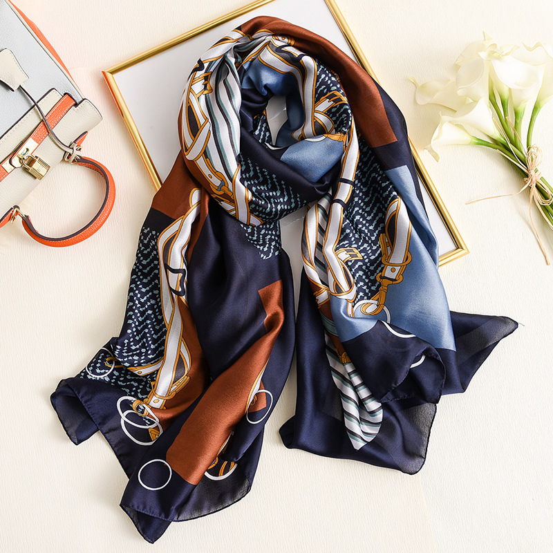 Belt And Wave Pattern Silk Scarf Women Brand Designer Shwals And Wraps Large Pashmina For Lady Travel Thin Blanket Hijab Femme