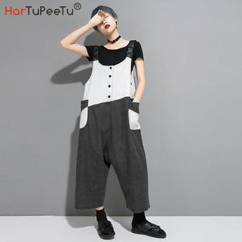Street Jumpsuit Women Overalls Plus Size Loose Baggy Bib Pants Colour Block Washed Hip Hop Trouser with Pockets 2020 Autumn цена 2017