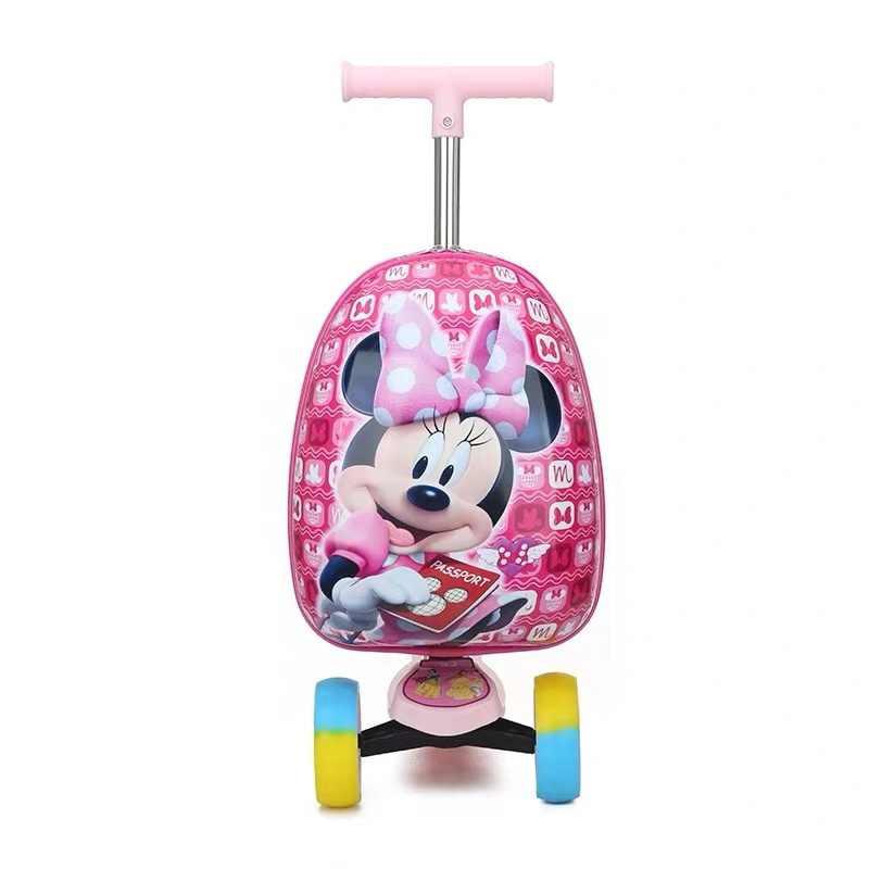 ילד של מטען מזוודת קטנוע קריקטורה נסיעות מזוודה עם גלגלי ילד חמוד קטן עגלה מתגלגלת מקרה 16''