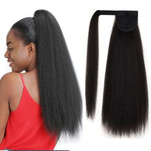 Clip in Hair Extension Synthetic Long Kinky Straight Warp Around False Hairpiece 22