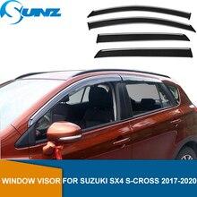 Seite Fenster Deflektoren Für Suzuki SX4 S Kreuz/Crossover 2017 2018 2019 2020 Fenster Visier Sonne Regen Deflektor wachen SUNZ