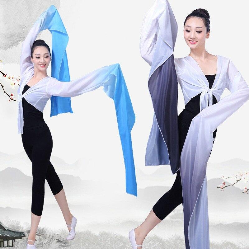 Multicolor Chinese Hanfu Water Sleeves Yangko Dance Practice Tops Female Chinese Classical Beijing Opera Tibetan Dance Costume