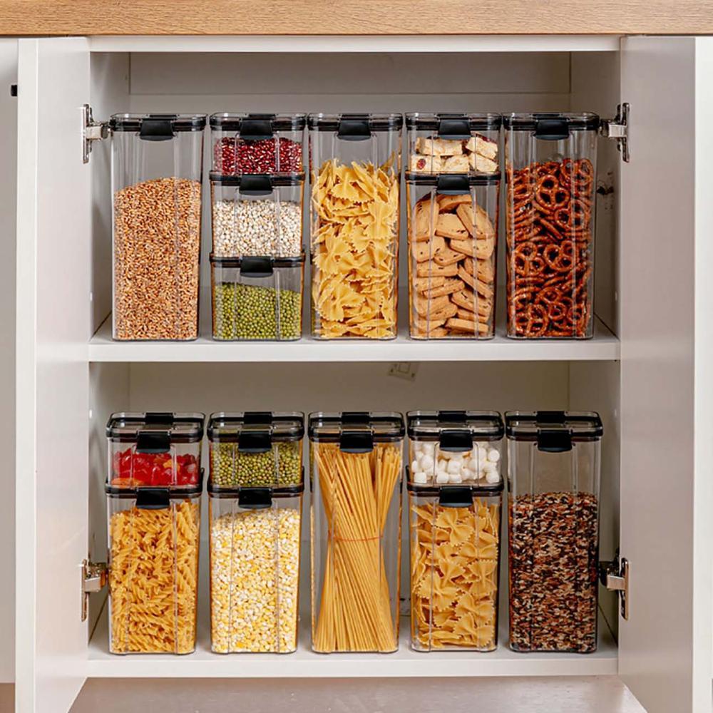 Boîte de stockage des aliments, conteneur de stockage des aliments, réfrigérateur de cuisine en plastique, boîte de nouilles, réservoir de stockage multigrains, boîtes transparentes, 700/1300/1800ML