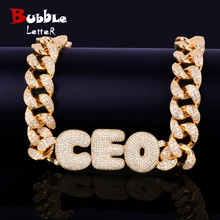 Custom Name Bubble Letters With 20MM Cuban Chain Necklaces & Pendants Mens Hip Hop Rock Street Jewelry