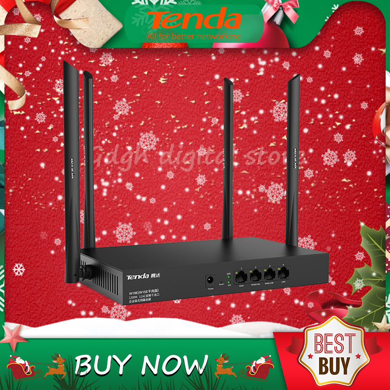 Tenda W18E V1.0 AC1200M Wireless WiFi Router With 2.4G/5.0G High Gain Antenna Home Coverage Dual Band Wifi Repeater,App Control
