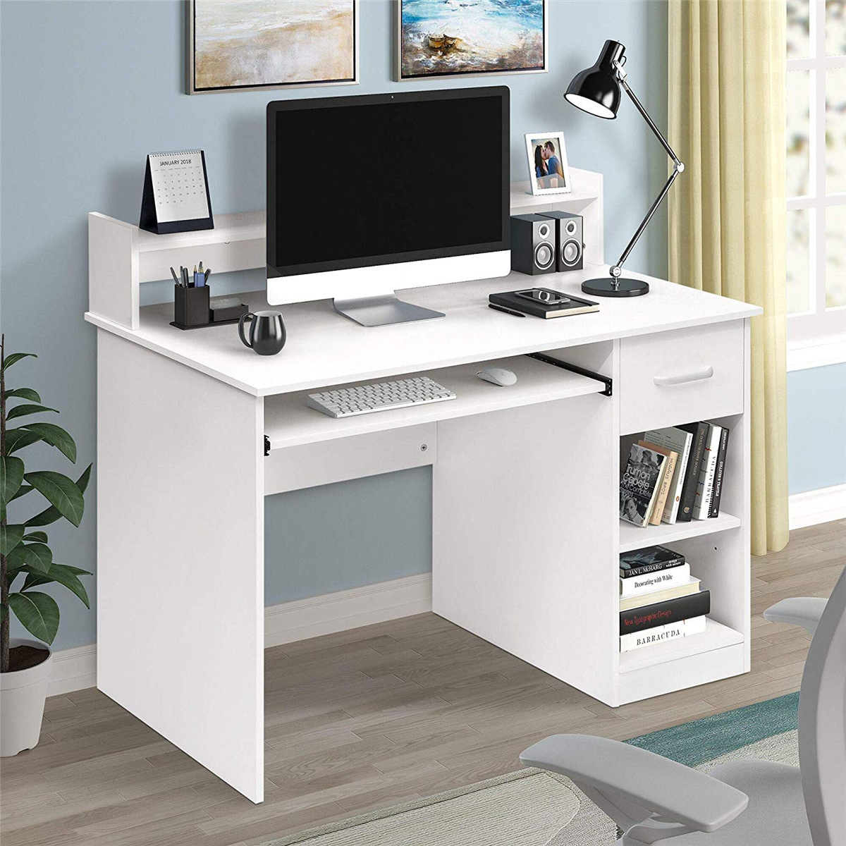40.9X18.8X37.7 Inch Wooden Durable Computer Desk Laptop Table Desktop Desk For Home Office Working Study White/Black